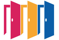 Three open doors illustration: red, yellow, blue