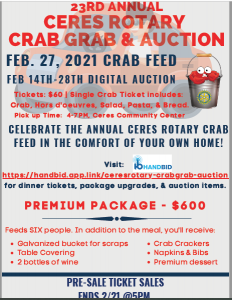 Ceres Crab Dinner and Auction flyer with photo of crab in bucket see text for details