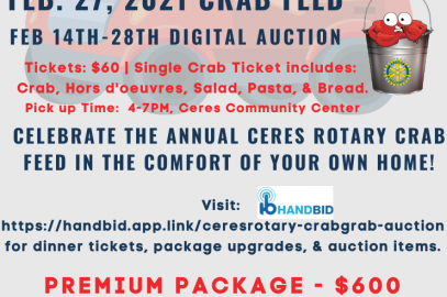 Flyer promoting Ceres take out crab feed and online auction-see text for details