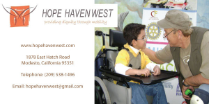Ad for Hope Haven West with boy in wheelchair