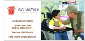 Ad for event sponsor Hope Haven West with photo of boy in wheelchair
