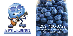 Ad for Rhythm & Blueberries includes photo of bueberries and contact info