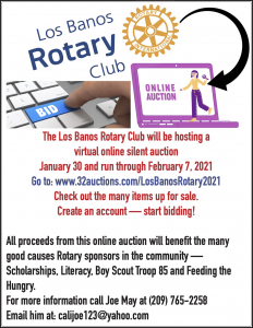 Los Banos Rotary Club Auction Flyer - see text for details