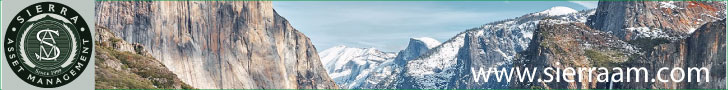 Sierra Asset Management Ad with logo and photo of Yosemite valley