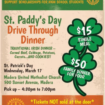 St. Paddy's Day Drive Thru Dinner Mar 17th