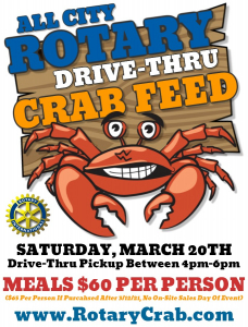 Flyer for Stockton All City Crab Feed with photo of large cartoon crab.