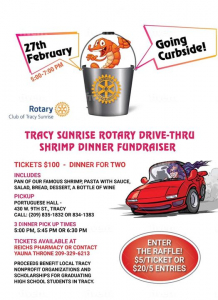 flyer promotion Tracy Sunrise Shimp Feed with photo of shrimp in a bucket