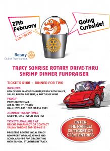 flyer for Tracy Sunrise Shrimp Dinner has bucket of shirmp with logo.