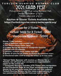 Turlock Sunrise event flyer for 2021 Crab Fest. Background is large crab. See text for details.