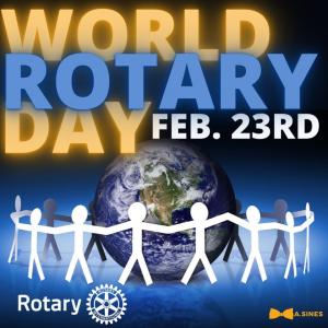 Logo announcing World Rotary Day Feb 23rd