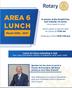 Area 6 Luncheon with Past President pictured along with rotary logo and blocked blue and yellow text.