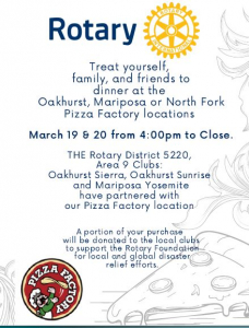 Flyer about dinner at Pizza Factory with Rotary and Pizza Factory logos