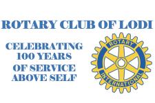 Lodi Rotary Service Above Self with Rotary Wheel Logo