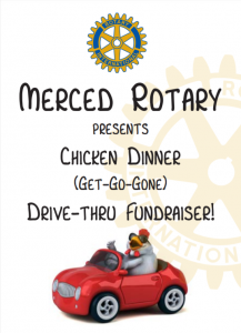 Flyer for Merced Rotary Chicken Dinner -Rotary Logo and Chicken driving a car
