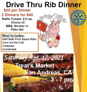 Flyer promoting Rib Dinner has cartoon pig in apron and photo of corn on cob and ribs