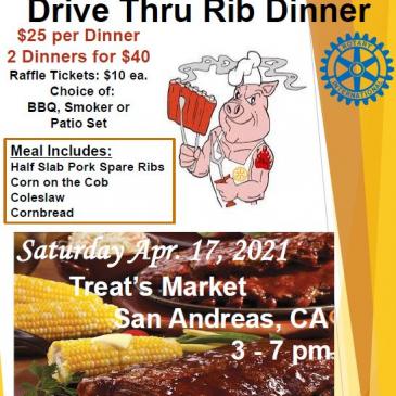 San Andreas Rotary Rib Dinner April 17th 3-7PM