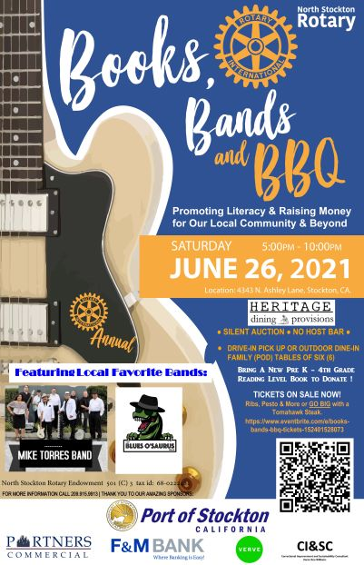 Flyer with picture of a guitar and 2 bands - one a group and the other a dinasour cartoon. See text for details