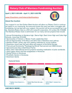 Auction Flyer with rotary logo and photos of items-a home, legal paper, half beef