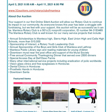 Manteca Rotary Auction Starts April 3rd