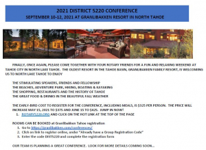 Photos of the conference room, patio and hotel and text about conference