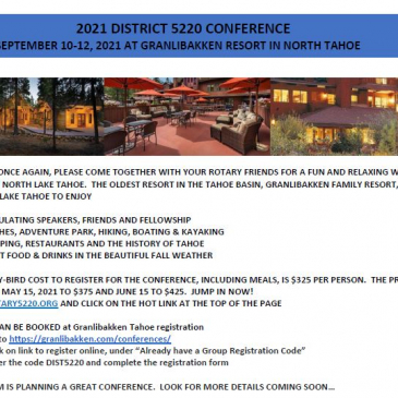 2021 District Conference Sept 10-12th