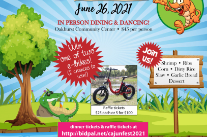 Flyer for Cajun Dinner with Alligator and also photo of e-bike.