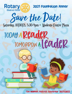 Flyer about the Foundation Dinner with a stack of books and kids reading