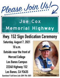 Invitation with photo of a highway memorial sign and photo of the man being dedicated