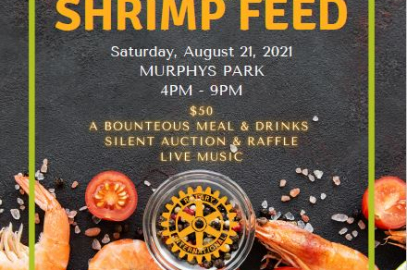 Shrimp Feed Flyer with Photos of Shrimp and tomatos and event details