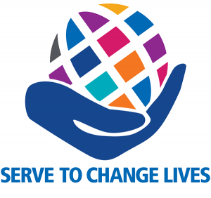 """Hand holding multicolored world """"Serve to Change Lives"""""""