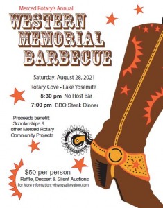 Flyer for Western BBQ shows western boot with Rotary logo